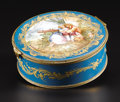 Ceramics & Porcelain, A Sèvres Style Porcelain Box. Unknown maker, painted by A. Marin, France. Late Nineteenth Century. Porcelain. Interlaced ...