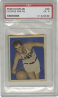 Basketball Cards:Singles (Pre-1970), 1948 Bowman George Mikan #69 PSA EX 5. A new chapter for the roleof center was penned by this Hall of Fame legend, and the...