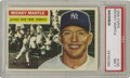Baseball Cards:Singles (1950-1959), 1956 Topps Mickey Mantle #135 PSA NM 7. That big Oklahoma smilesuggests that the Mick may have known that this would be hi...