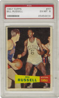 Basketball Cards:Singles (Pre-1970), 1957 Topps Bill Russell #77 PSA EX-MT 6. The famous Topps cardcompany makes its first foray into photography, capturing th...