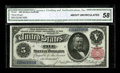 Large Size:Silver Certificates, Fr. 267 $5 1891 Silver Certificate CGA About Uncirculated 58. This pleasing Open Back design definitely looks better and it ...