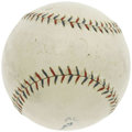Autographs:Baseballs, 1920's Walter Johnson Signed Baseball. Though the Big Train's sweet spot signature may have faded a fair amount since its a...