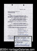 Autographs, William Boyd Hopalong Cassidy Signed Document