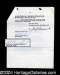 Autographs, William Boyd Hopalong Cassidy Signed Documents