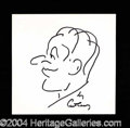 Autographs, Art Carney Large Signed Self Caricature