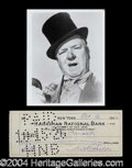 Autographs, W.C. Fields Rare Signed Bank Check