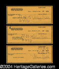 Autographs, Clark Gable Signed Bank Check Lot