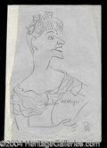 Autographs, Helen Hayes Original Signed Oscar Berger Sketch