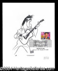 Autographs, Hirschfeld Signed Elvis Commemorative Print