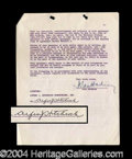 Autographs, Alfred Hitchcock Rare Signed Document