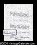 Autographs, Judy Holliday Rare Vintage Signed Document