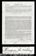 Autographs, Gene Kelly Unique Signed Document