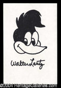 Autographs, Walter Lantz Woody Woodpecker Signed Sketch