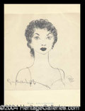 Autographs, Gina Lollobrigida Signed Oscar Berger Sketch