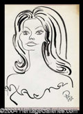 Autographs, Sophia Loren Awesome Signed Oscar Berger Sketch