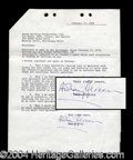 Autographs, Anthony Perkins Signed Document