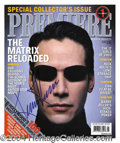 Autographs, Keanu Reeves Matrix Reloaded Signed Magazine