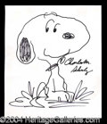 Autographs, Charles M. Schulz Fabulous Large Signed Snoopy Sketch