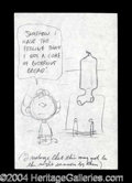 Autographs, Charles Schulz Unique Original Ad Sketch