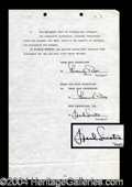 Autographs, Frank Sinatra Scarce Signed Document