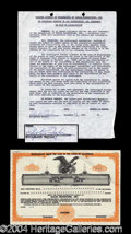 Autographs, Elizabeth Taylor Rare Signed Document & Stock Certificate