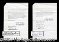 Autographs, Elizabeth Taylor & Richard Burton Rare Movie Contract Lot