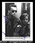 Autographs, Termiator 2 Schwarzenegger/Furlong Signed 8 x 10 Photo