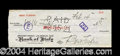 Autographs, Ben Turpin Vintage Signed Bank Check