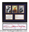 Autographs, John Wayne Signed Framed Display