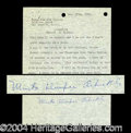 Autographs, Mrs. Roscoe Fatty Arbuckle Interesting Signed Document