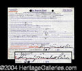 Autographs, Penny Marshall Signed Jury Duty Document