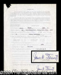 Autographs, James Stewart Signed Jury Duty Document