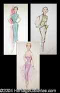 Autographs, Edith Head-Pat Barto-Purple Dress, Green Top & Hat, Blue Dress
