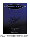 Autographs, Kelly Clarkson In-Person Signed Sheet Music