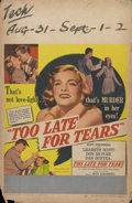 """Movie Posters:Film Noir, Too Late for Tears (United Artists, 1949). Window Card (14"""" X 22""""). Lizabeth Scott and her husband, Arthur Kennedy, find a c..."""