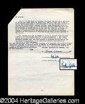 Autographs, Rudy Vallee Vintage Signed Document