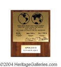 Autographs, Buzz Aldrin Apollo 11 Signed Replica Moon Plaque