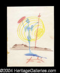Autographs, Salvador Dali Incredible Hand Drawn Signed Sketch