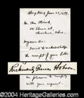 Autographs, Richmond P. Hobson Handwritten Letter Signed