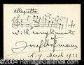 Autographs, Josef Hofmann Signed Musical Quotation