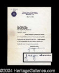 Autographs, J. Edgar Hoover Typed Letter Signed