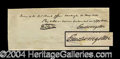Autographs, Edward Livingston Signed Handwritten Check