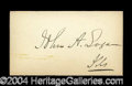 Autographs, John A. Logan Civil War Ink Signature
