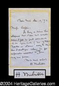 Autographs, Herman Melville Moby Dick Rare Handwritten Letter Signed