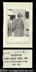 Autographs, George S. Patton Signed Free Frank Panel
