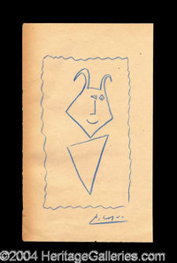 Pablo Picasso Original Drawn & Signed Sketch - Rare and highly desirable original drawing, in crayon, approximately...