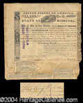 Autographs, Sterling Price Civil War Gen. Signed Missouri Bond