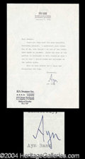 Autographs, Ayn Rand Rare Typed Signed Letter