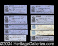 Autographs, Samuel & Eliphalet Remington III (Remington Gun Co.) LargeSigned Check Lot