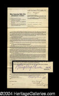 Autographs, Ringling Brothers Original 1912 Artist's Contract